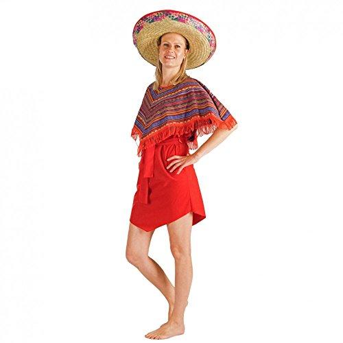 Für Poncho Rot M&m Erwachsene Kostüm - Krause & Sohn Kostüm Mexikanerin Mariana Kleid mit Poncho rot Fasching Mexiko Länder (M)
