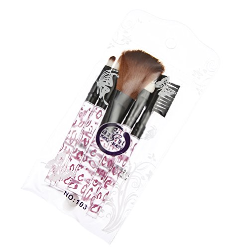 Davidsonne Lot de 5 outil de maquillage Brosse Kit de voyage Léopard Rose