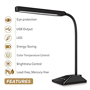 TOPELEK LED Desk Lamp 3 Color Modes x 5 Levels Dimmer Table Lamps 8W Eye-Care Dimmable Touch Sensitive Control Gooseneck Reading Lamp from TOPELEK