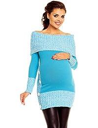 Zeta Ville De Las Mujeres Maternidad off-Shoulder Knit Pullover Jersey Túnica Superior–913C