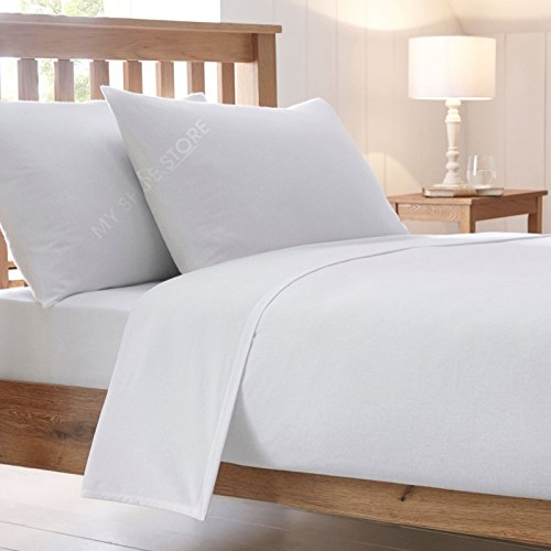 H & F® Neue Luxus Combed Poly-Baumwoll-Bettlaken-Spannbetttuch Kissenbezug Single Double King-Größen Kissenbezug-Paar weiß -