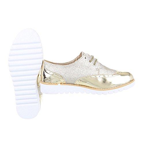 Ital-Design Schnürer Damenschuhe Oxford Schnürer Schnürsenkel Halbschuhe Gold 62036