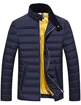 MHGAO Casual color sólido de los hombres calientes del invierno abajo cubre la chaqueta , blue , l