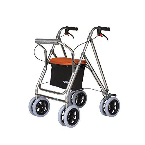 Andador para ancianos | Rollator de aluminio | Andador on frenos y asiento | De aluminio plegable | Color naranja