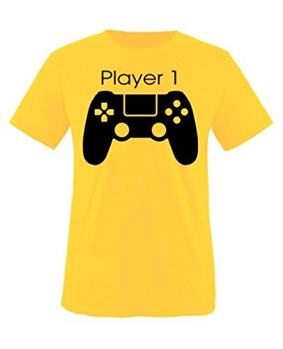 Hündin Gelbes T-shirt (Comedy Shirts - Player 1 Controller - Jungen T-Shirt - Gelb / Schwarz Gr. 98-104)
