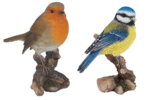 Vivid Arts - Decorative Figure of robin and Blue of British birds for home or garden