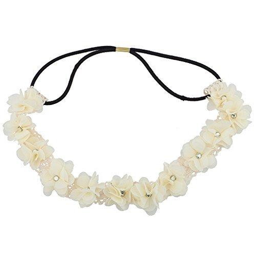 Accesorios Lux blanco cristal de flores encaje elástico diadema