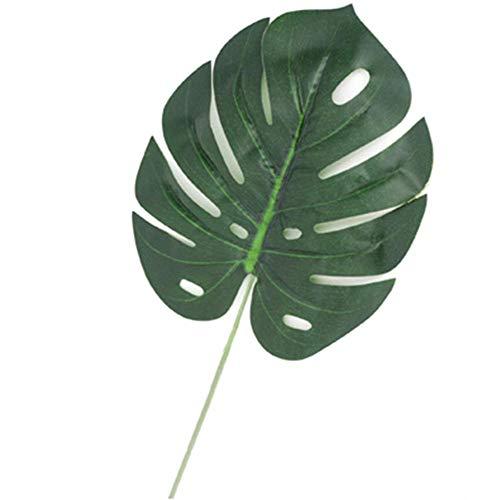 HEIRAO Tropische Blätter Künstliche Palm Green Pflanzenblätter Hawaiian Luau Dschungel Strand Thema BBQ Geburtstag Partydekorationen 24 Stücke