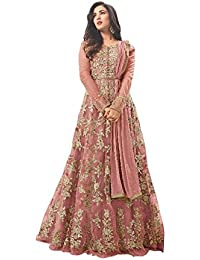 Mira Creation Women's Net::Santoon & Nazneen Fabric Embroidered Semi-Stitched Salwar Suit (Size : Free)