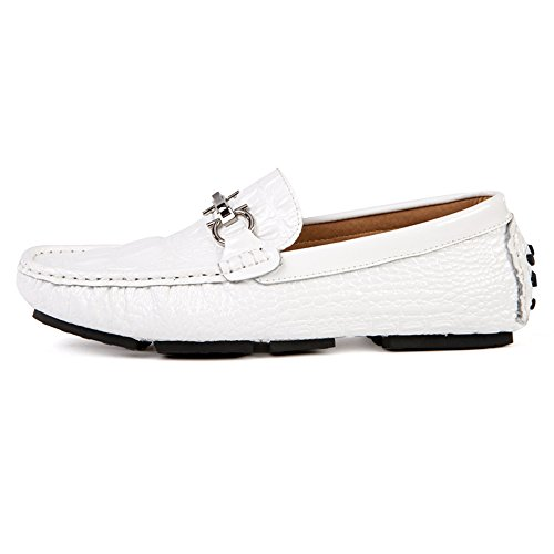 Mens Casual Loafers Herren Slip auf Mokassins Fahrschuhe Weiß