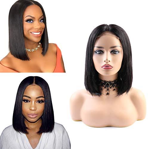 SingleBest Bob Perücke Lace Front Wig,Brasilianische Virgin Remy Straight Kurze Remy Echthaar Perücken for Black Woman 180 Dichte Natural Black 12