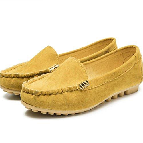 Ba Zha Hei Damen Pure Farbe Gemütlich eben Einzelne Schuhe Erbsenschuhe Beiläufige Wildleder Schuhe Reine Farbe Breathable Tuch Schuhe Flache Fußschuhe Komfort Weich Schuhe (39, Gelb) (Schuhe Komfort Pur)
