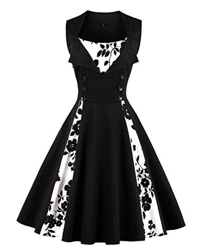 VERNASSA Kleid Damen 50er 60er Jahre, Vintage Ärmellos Retro Elegant Abschlussball Tupfen Baumwolle Swing Kleid für Rockabilly Abend Party Cocktail, Mehrfarbig, S-Plus Größe 4XL (Vintage-rock Plus Größe)