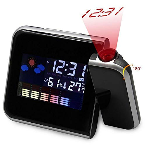 SMAERTHYB Black Square Project Digital Weather LCD Snooze Despertador Proyector Pantalla A Color Retroiluminación Led Reloj Despertador Digital