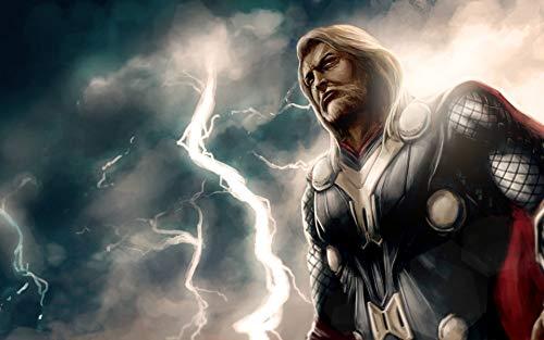 FRAMED Thor Canvas Wall Art Decoration | Thor Print, Thor Poster, Thor Art, Norse Art, Pagan Canvas, Viking Canvas, Viking Art | High Quality Printing, Internal Genuine Wooden Frame, 3D Effect