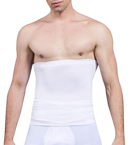 SLIMBELLE® Hombre Faja Reductora Elástica Barriga Adeltazante Cinturón Abdominal Moldeadora Body Shaper Cintura de Fitness Negro&Blanco