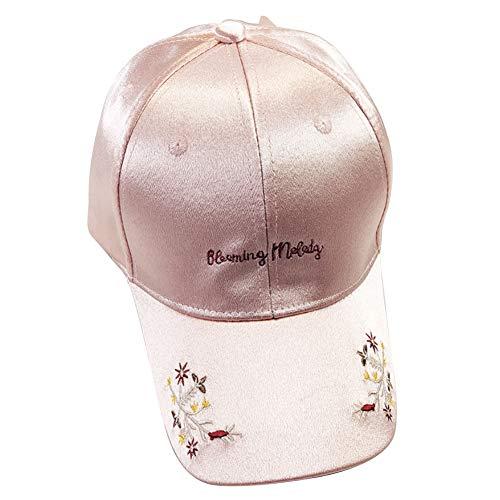 LvLoFit Gestickte Blume Baseball Kappe für Damen Mädchen Satin de Glänzend Bogen Mütze Hip PopBaseball Cap (Rosa) (Bogen-baseball-cap)