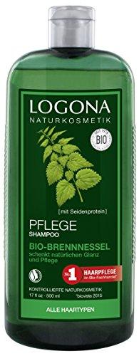 LOGONA Naturkosmetik Pflege Shampoo Bio-Brennnessel, Milde Reinigung für jedes Haar, Schenkt Glanz & Frische, Für die ganze Familie & tägl. Anwendung, Natürliche Haarpflege, 500ml -