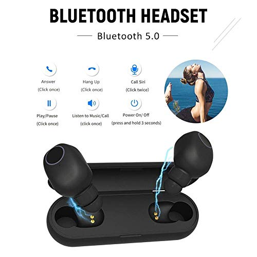 True Wireless Headphones, Bluetooth 5 0 Mini Earbuds (Total 15 Hrs  Playtime) Stereo in ear Earphones Portable Sports Twins Headsets Noise  Isolation