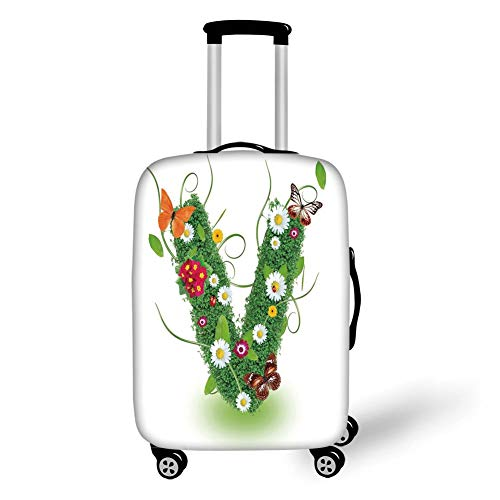 Travel Luggage Cover Suitcase Protector,Letter V,Lively Bouquet of Flourishing Daisies Green Swirls Nature Spring Butterflies Decorative,Green Multicolor,for Travel,S -