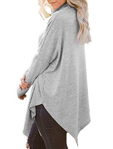 BIUBIONG Femme Manches Longues Bloc de Couleur Patchwork Blouse T Shirt Tunique Tops Hauts Chic Automne Gris
