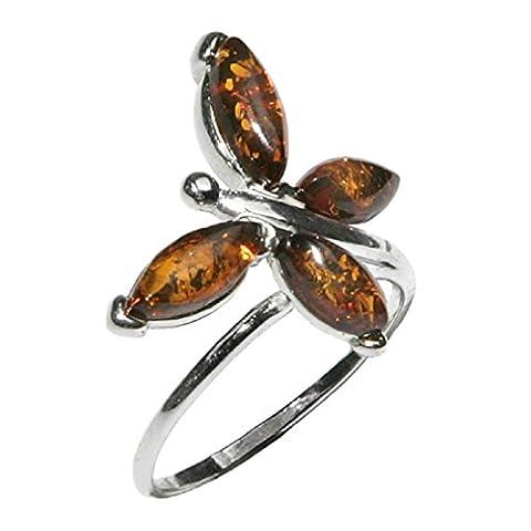 Noda bague en ambre et argent papillon taille