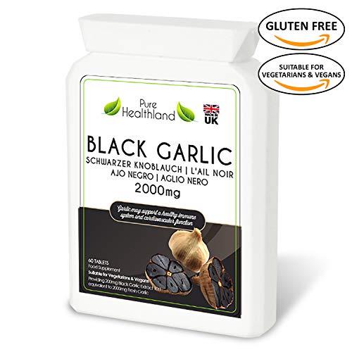 Glutenfrei Hochwirksame geruchlose Schwarzer Knoblauch Ergänzungsmittel Tabletten entspricht 2000 mg frischer Knoblauchknolle! Nahrungsergänzungsmittel Für Vegetarier Geeignet und Vegan