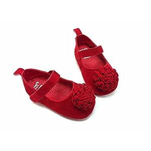FemmeStopper Flower 15-21 Months(14cm) Born Infant Baby Girls Shoes First Walker Red Shoes