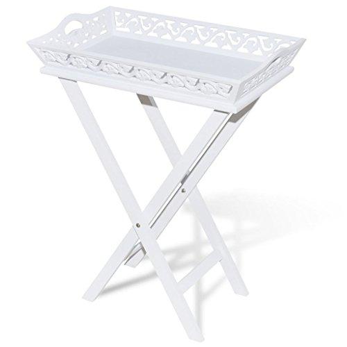 vidaXL Table Blanche auxiliaire avec Plateau pour Les Pots Tables auxiliaires