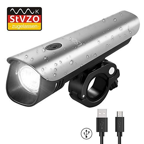LED Fahrradbeleuchtung, iSolem USB Aufladbar Fahrradlampe, Wasserdicht Fahrradlichter mit StVZO Zugelassen, 60 Lux Akku Fahrrad Frontlicht - Bv Led