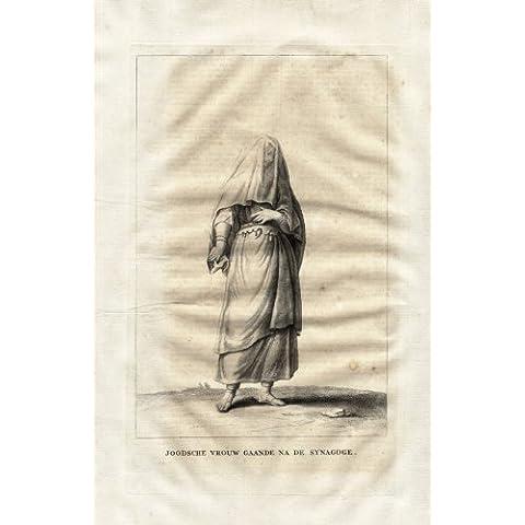 theprintscollector antico print-jewish woman-synagogue-dress-hebrew-calmet-1725