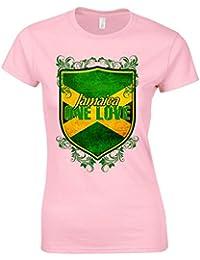 Bang Tidy Clothing Women's Jamaican Flag One Love Shield T Shirt Pink XL