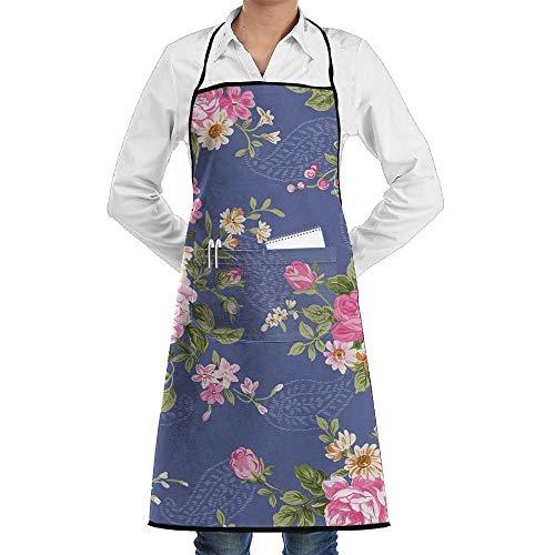 Garten-Schürze kochtn, Bib Apron with Pockets Beautiful Vintage Rose Flower Durable Cooking Kitchen Aprons ()