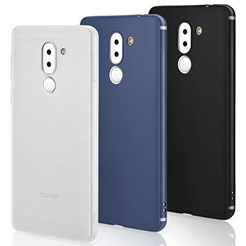 Funda Huawei Honor 6x [3 PCS], Leathlux 3X Carcasa [Ultra Delgado] Suave TPU Silicona Back Bumper Protector Tapa Flexible GEL 3 Unidades Case Cover para Huawei Honor 6x 5.5 Pulgada - Negro, Azul, Blanco