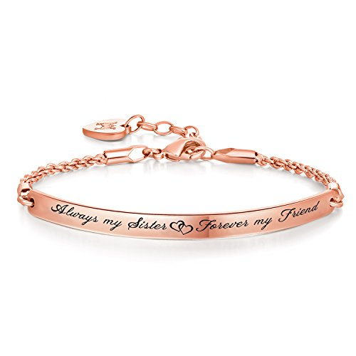 """Armband mit Gravur für Frauen """"Always my Sister, Forever my Friend """" Personalisierter Gravierbare Inspiration Armreif Schmuck"""