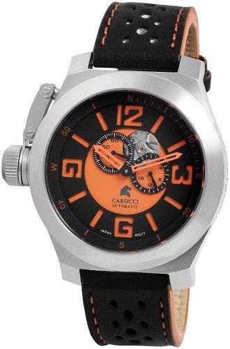 Carucci Watches CA2175BK-OR - Orologio da polso da uomo, cinturino in pelle colore nero