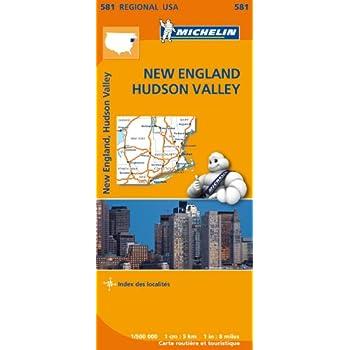 Carte USA Nouvelle-Angleterre, Vallée de l'Hudson Michelin