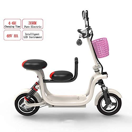 WYD Bicicleta eléctrica Plegable, Bicicleta Doble para Adultos, de montaña, con neumático de 10 Pulgadas y una Silla para niños de 400 vatios y 48 vatios Alta Potencia Velocidad máxima 37 km/h,White