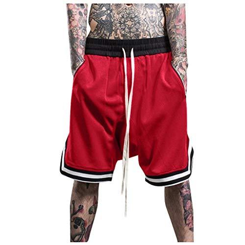 Xmiral Shorts Herren Reißverschluss Taschen Kordelzug Streifen Sports Kurze Hose Training Shorts Fitness Beachshorts Mode Shorts(Rot,3XL)