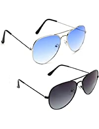 Xforia Uv Protected Premium Quality Aviator Sunglasses For Women & Men Combo Of 2 (DX-FLX- 13   Blue & Black  ...