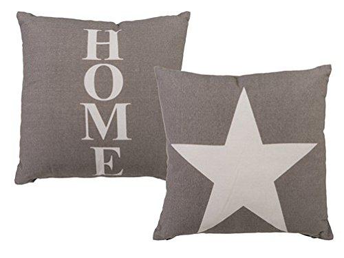 tolles graues Vintage Kissen Set mit weißem Stern und home