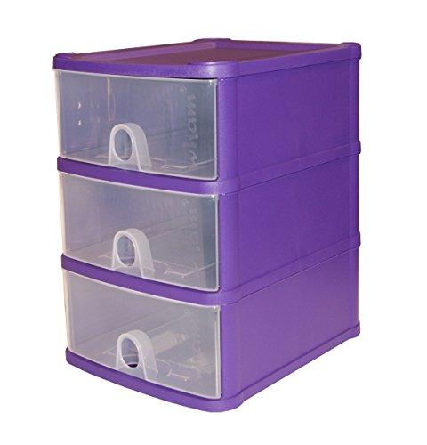 Wham 16176 Schubladenbox 3er A5 LILA 20x24x29cm Aufbewahrungsbox Sortierbox Box 3-schubladen-box