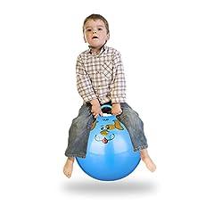 Idea Regalo - Relaxdays Palla per Saltare, con Maniglia, Adatta per Interno ed Esterno, con Disegni di Animali, Colore Blu, 45 x 45 x 55 cm, 10022554_45