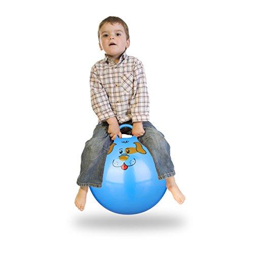 Relaxdays–10022554_ 45hüpfball Niños, Perro, con Mango, para Interior y Exterior, con diseño de Animales, Suave, 45cm de diámetro, Azul, 45x 45x 55cm