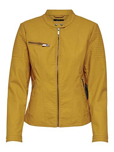 ONLY Damen Kunstleder-Jacke onlMegan Faux CC OTW, Farbe:Gelb, Größe:40 (Faux-gelb-leder-jacke)