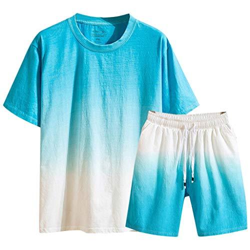 all Jumpsuit Sommer Bettwäsche Baumwolle Kurzarm Kurze Hose Allmähliche Farbe Anzug ()