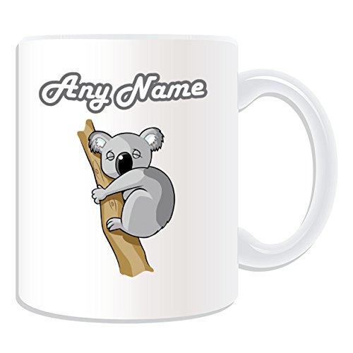 Personalizado regalo–dormir Koala en árbol Taza (diseño animal tema, blanco)–cualquier nombre/mensaje en su única taza