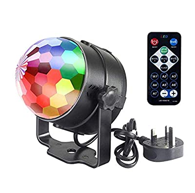 Disco Ball Light, Party Light Disco Lights Remote Control & Sound Activated Lights 7 Colors Glitter Rotating Crystal Party Ball Light Mini DJ Light Stage Light for Pub Disco Home Outdoor