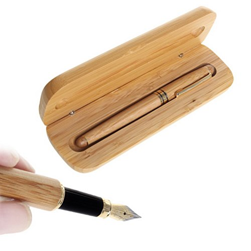Pluma estilográfica de bambú con estuche de madera, ideal como regalo para hombres