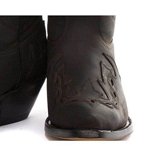 Grinder Unisex Cowboy stivali con dettagli accatastati cucitura in nero o marrone Marrone Hi